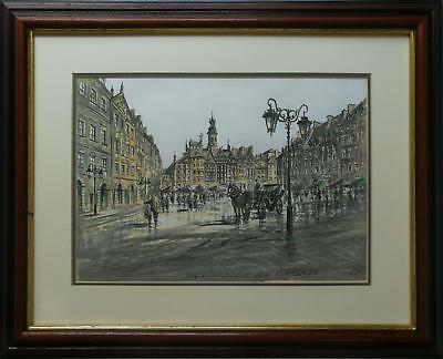 Warsaw's Old Town Market Place- Original Signed Ink And Watercolour Painting