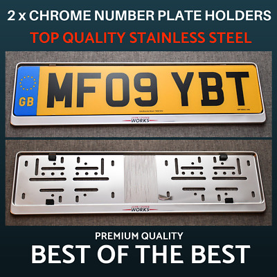 2 x Luxury Chrome Stainless Steel Number Plate Holder Surround for Mini Cooper !