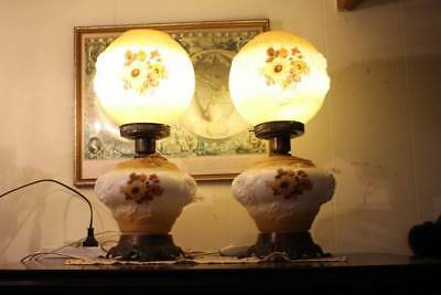 A Vintage Pair of Milk Glass Victorian Style Table Lamps 50cm High