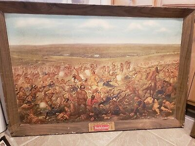 Vintage 1952 Custer's Last Fight/stand Anheuser-Busch Budweiser Litho Print Sign