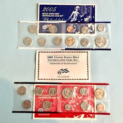 2005 UNITED STATES US MINT P & D UNCIRCULATED SEALED COIN SET w/ COA FREE SHIP