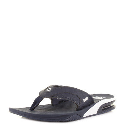 c547d7d62244 Mens Reef Fanning Navy Blue White Sporty Thong Flip Flops Sandals Sz Size