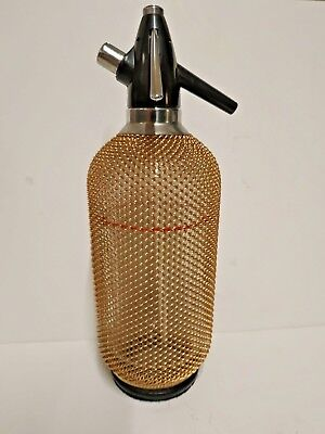 Vintage SELTZER Glass Bottle, Bronze Mesh Wrapped Soda Siphon, Chechoslovakian