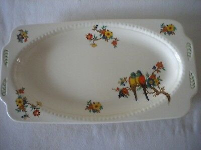 Vintage China Sandwich Platter with hand painted Parrots & Flower Pattern