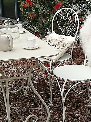 French Garden Set   Table +4 Chairs Wrought Iron Outdoor Ivory New