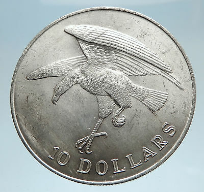 1973 SINGAPORE w Sea Eagle Genuine Antique Genuine Silver 10 Dollars Coin i75051