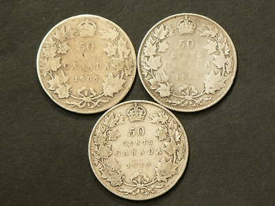 1907 1917 1919 Canada 50 Cents  Lot of 3 Sterling Silver Coins  #1453
