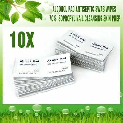 10x Alcohol Pad Antiseptic Swab Wipes 70% Isopropyl Nail Cleansing Skin Prep