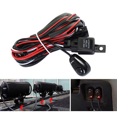 Universal 12V 40A LED HID Driving Light Bar Wiring Kit Harness Loom Switch Relay