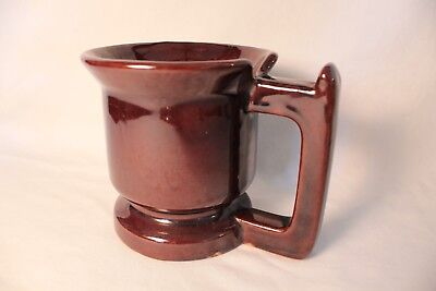 Coffee Cup Mug Brown Glazed Stoneware Pottery Large Square Handle w/ Thumb Notch