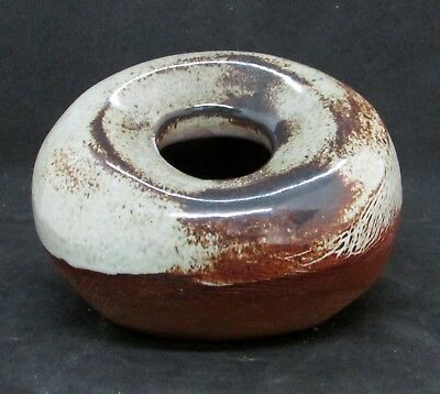 Small Altered Scored Vase with Beige Glaze and Inset Mouth