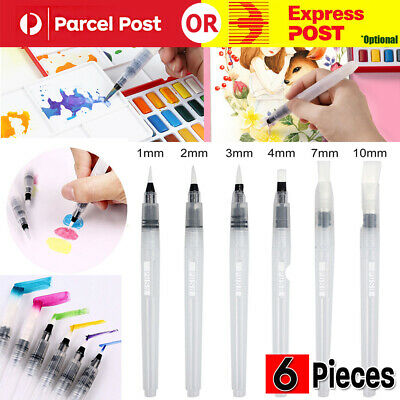 6x Artist Ink Water Brush Pen Set For Watercolor Calligraphy Painting Drawing AU