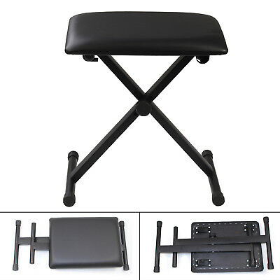 Black Piano Stool Fully Adjustable Height Pro X Frame Keyboard Bench Seat
