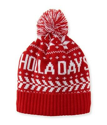 334aa6bee38 NWT P.S. Aeropostale Women s Beanie Cap Winter Pompom Hat Holadays One Size  Red