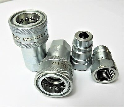 HYDRAULIC COUPLER 1/2 BSP POPPETS!!  AGRICULTURAL TYPE   2, 4, 6 , 8 or 10
