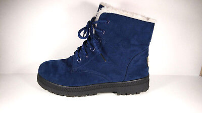 Sql Navy Blue Suede Susanny Ankle Boots White Fur Lined Lace Up 6