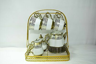 Free Shipping: Gold Exclusive Ceramic Tea Set On Stand 15 Pcs (Versace 37075)