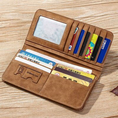 Vintage Long Soft PU Leather Wallet Male Purse Large Capacity Card Holders ND