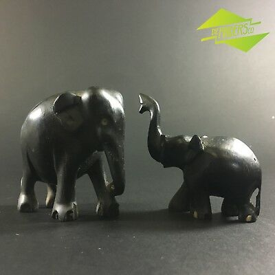 Stunning Pair Antique Ebony & Bone Hand Carved Elephant Sculptures