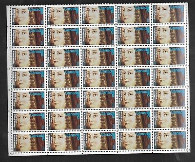 pk41095:Stamps-Canada #615 Jeanne Mance 35 x 8 cent Partial Sheet-MNH