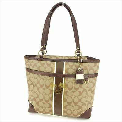 d74d536ebdeb Coach Tote bag Signature Brown PVC leather Woman Authentic Used B990