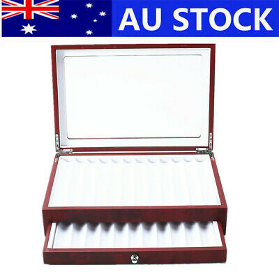 23 Pen Fountain Wood Display Box Holder Storage Case Holder with Glass Cover