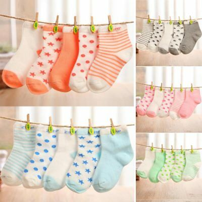 5Pairs Cute Kids Baby Newborn Infant Toddler Soft Boy Girl Cotton Socks 0-5Y XE