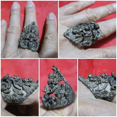 Size 11 Brass Ring Vishnu Ride on Garuda & Naga Thai Amulet K49-3