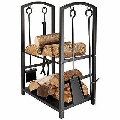Large Vintage Black Fireside Indoor Wood Burner Log Rack Basket Stand With Tools