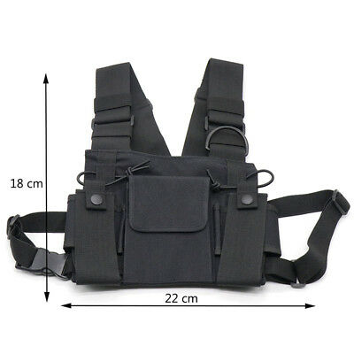 3 pockets Radio Harness Chest Rig Bag Holster Vest Police Walkie-talkie Bag