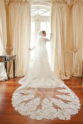 NEW White Ivory Wedding Bridal 1 Tier Cathedral Veils Lace Appliques Edge & Comb