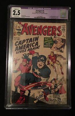 Avengers #4 Restored CGC 2.5 1st Appearance Of Silver Age Captain America!