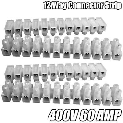 12 Way Connector Strip Choc Block Terminal 60Amp Electrical Connection Flat Head