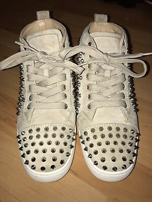 347a2dbb7ed0 CHRISTIAN LOUBOUTIN TRAINERS Uk 10 Louis Spikes High Top Mens White ...