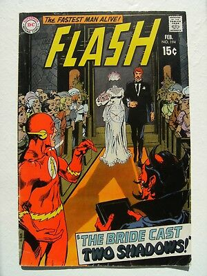 "Flash Vol.1 no.194 ""The Bride Cast Two Shadows!"" Neal Adams cover.1st Bronze Age"