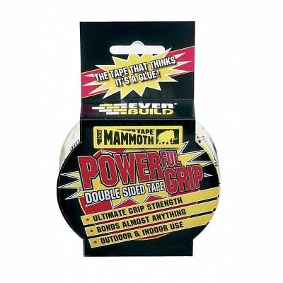 EVERBUILD MAMMOTH POWERFUL GRIP TAPE DOUBLE SIDED STRONG ADHESIVE 12MMx 2.5MTR