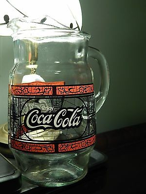 (Vtg) enjoy Coca-Cola _Stained Glass Logo_ *Serving Pitcher* Hefty~Solid