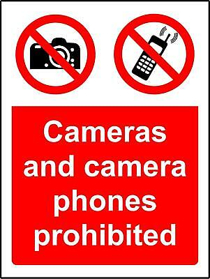Prohibition signs Cameras and camera phones are prohibited Safety sign