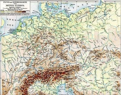 River and Mountains Central Europe 1897 Antique Map Chromolithograph Print