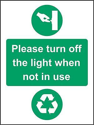 Please turn off the light when not in use Safety sign