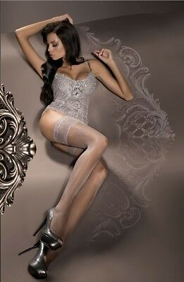 BALLERINA Luxury Fine Sheer Lace Top Patterned Hold Ups BLACK ! S M L XL 294