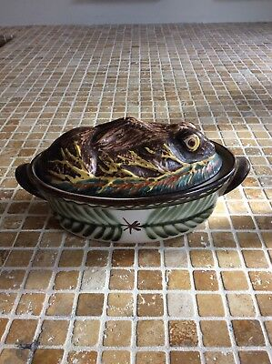 lovely French Keraluc Quimper Pottery Terrine in Hare/Rabbit form