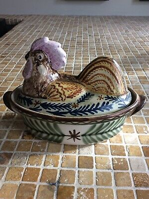 lovely French Keraluc Quimper Pottery Terrine in Cockerel Form