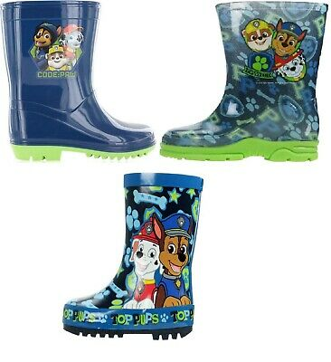 Boys Paw Patrol Wellington Boots Blue Rain Wellies Mid Calf Snow Kids Size 5-10