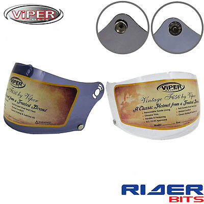 Visor For Viper F656 Vintage Classic Helmets Clear Smoked Stud Magnet Both