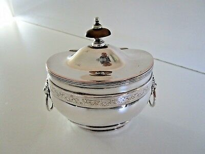 Silver Plated Tea Caddy, Lion Mask Handles, circa 1900