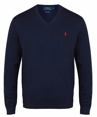 super popular 421f4 db084 RALPH LAUREN PULLOVER Herren Sweater Classic V Neck 100% Cotton Pulli NEU