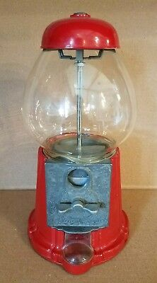 """1980s CAROUSEL RED DIE CAST METAL GUMBALL CANDY MACHINE GLASS GLOBE 11.5"""" VG+"""