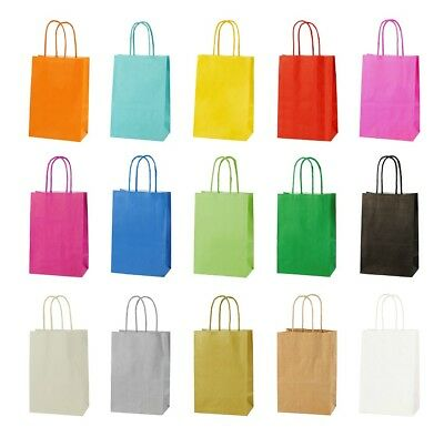 10 x EXTRA SMALL BRIGHT PAPER PARTY BAGS SIZE 14 x 21 x 8cm