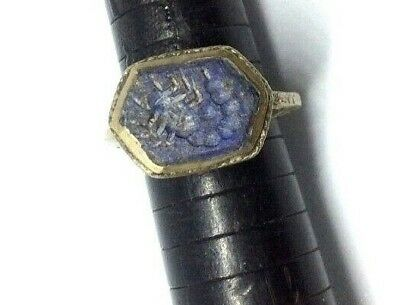 Very nice lapiz lazuli antique Bronze ring Scorpion intaglio engraved